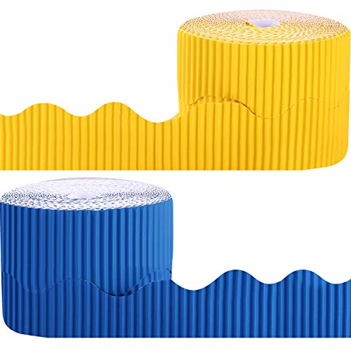 2 Rolls Bulletin Board Borders Scalloped Border Decoration for Decorative Borders (Yellow and Blue)