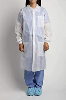 MediChoice Laboratory Coats, Standard, Disposable, Three-Pocket, 5 Snap-Front, Non Woven, Sturdy Polypropylene, Medium, White (Case of 25)