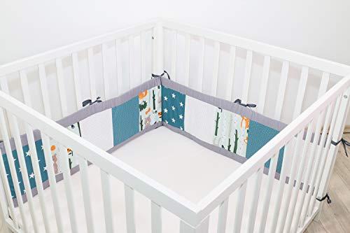 Baby Bettumrandung für Laufstall | Made in EU | ÖkoTex 100 | Schadstoffgeprüft | Antiallergisch | Baby Nestchen | Babynest | Laufstall-Umrandung | Waldtiere Petrol | 200 x 30cm | ULLENBOOM ®