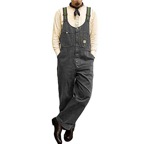 Mxssi Herren Jeans Latzhose Vintage Ärmellos Overall Einstellbar Schnalle Jumpsuits mit Tasche Lose Einfarbig Denim Hose Gerades Bein Freizeithose S-3XL