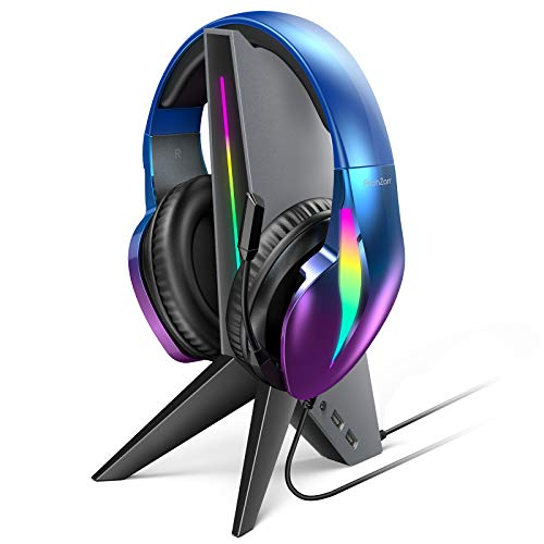 PeohZarr Headphone Stand Gaming Headset Holder with Aux & 2 USB Inputs, Built-in Sound Card & RGB Lighting, 3-Point Rubberized Base, Headset Stand for PC, Xbox One, PS4, Switch Gaming Headset, Desk