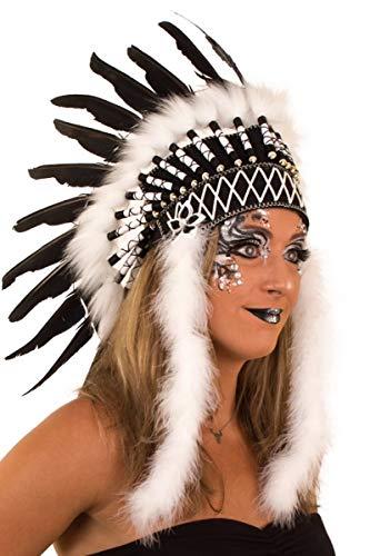 shoperama Blackfoot - Accesorio para disfraz de india con plumas, color blanco y negro