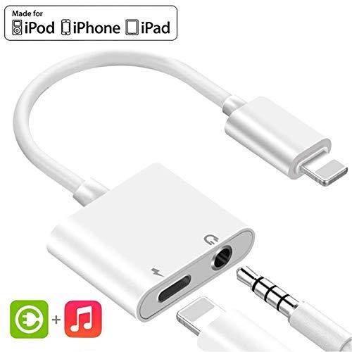 Kopfhörer Adapter für iPhone 8 Aux Adapter 3,5mm Klinke Splitter Audio Dongle Adapter für iPhone 7/7Plus/8/8 Plus/X/XS/XR zubehör Kabel zum Aux Audio Anschluss Unterstützung iOS12 oder höher