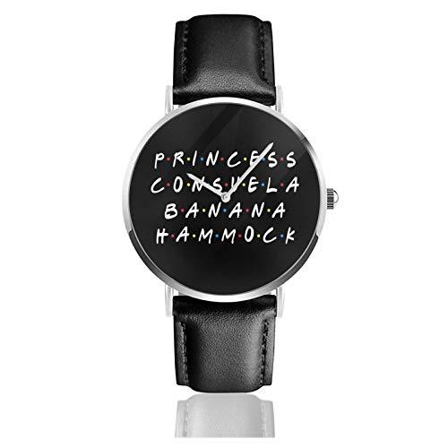 Reloj de cuero Princess Consuela Banana Hamaca unisex clásico casual moda reloj de cuarzo de acero inoxidable con correa de cuero