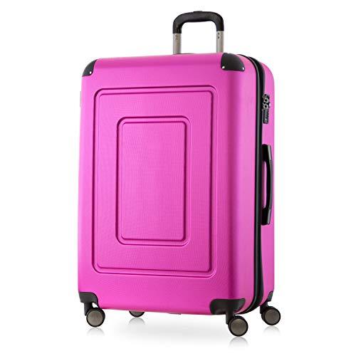 Happy Trolley - Lugano Hartschalen-Koffer Koffer Trolley Rollkoffer Reisekoffer Lugano, sehr leicht + stabil, TSA, 76 cm, 113 Liter, Pink