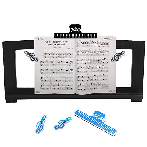 ZBY Music Stand for Sheet Music, Yamaha Music Stand Compatible with Numerous Yamaha Models of Music Keyboard, Stable and Durable, with 5 Music Book Clip(Black)