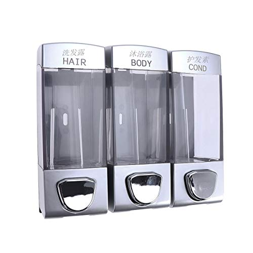 Dispenser sapone dispenser di gel shampoo Ounona a parete con tre uscite per bagno doccia