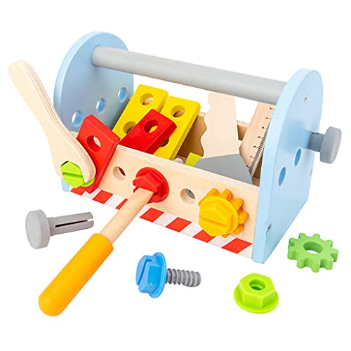 Hellery Niños Simulación Herramientas de Madera Caja de Herramientas Juego de simulación Juguete de construcción para niños pequeños Regalo para niños y niñas
