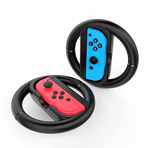 GameWill Steering Wheel for Nintendo Switch Controller (not included controller)- Black (Set of 2)