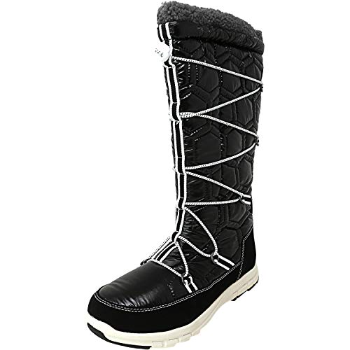Khombu Women's Slalom Quilted Tall Waterproof Snow Winter Boot Black Size 7