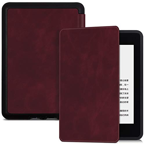 BOZHUORUI Case for All-New Kindle Paperwhite 10th Generation - 2018 Release (Model PQ94WIF) - Premium PU Leather Protective Cover with Auto Wake Sleep (Red wine)