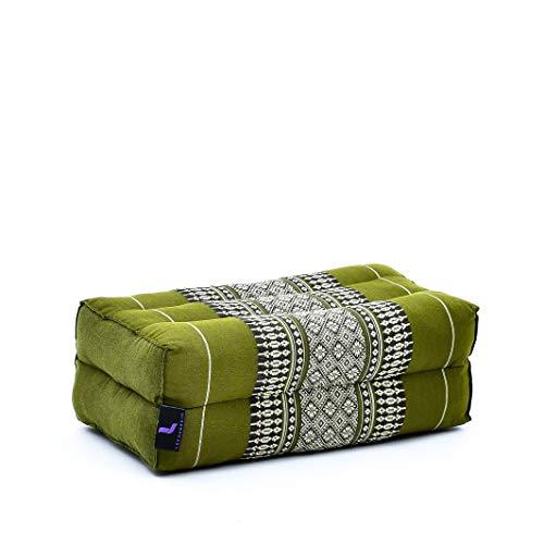 LEEWADEE Bloque de Yoga pequeño – Cojín Alargado para Pilates y meditación, cojín para el Suelo Hecho de kapok Natural, 35 x 18 x 12 cm, Verde