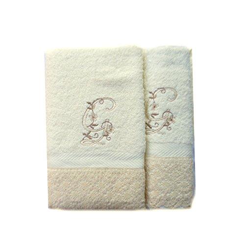 Portugal (G). Juego de 3 Toallas beije(100x150, 50x100, 50x30) Letras Iniciales Bordadas, 100% algodón, Fabricado en CEE.