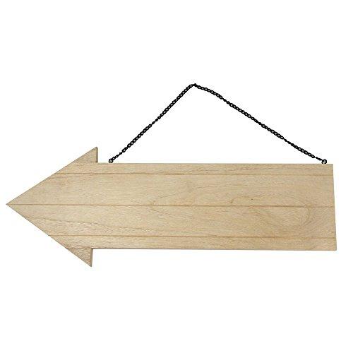 Rayher 6199000 houten pijl met metalen ketting 38,5 x 14,8 cm, dikte 1,1 mm, houten bord om op te hangen, houten plank in pijlvorm, deurbordje, blanco, wegwijzer hout