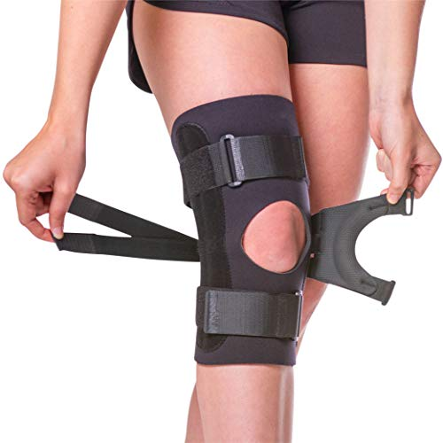 BraceAbility J Patella Knee Brace - Lateral Patellar Stabilizer with Medial and J-Lat Support Straps for Dislocation, Subluxation, Patellofemoral Pain, Left or Right Kneecap Tracking (Large)