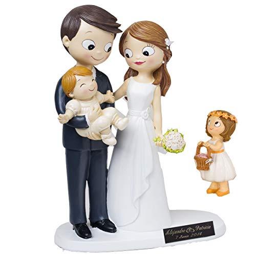 Figura novios con bebe y niña. PERSONALIZADA con placa grabada con el texto que quieras. Figura de novios con niños