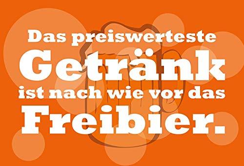 Goedkoop goedkoop drankje Freibier Bier Beer metalen bord bordje gewelfd Metal Tin Sign 20 x 30 cm