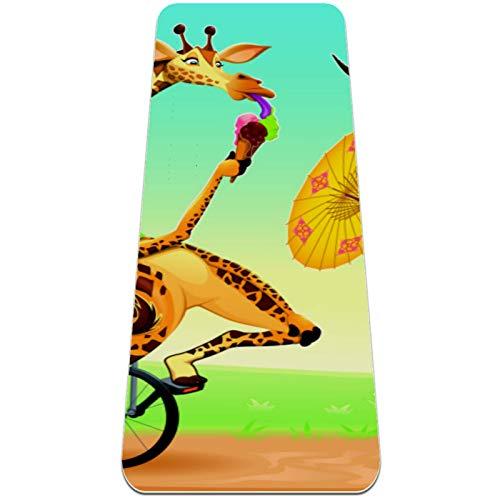 BestIdeas Esterilla de yoga Zoo elefante jirafa ciervo y león para yoga, pilates, ejercicio de suelo para hombres, mujeres, niñas, niños, principiantes, diseño antideslizante