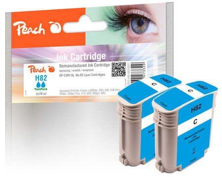 Peach Twin Pack Ink Cartridge cyan, compatible with HP No. 82, C4911A