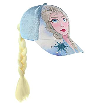 Disney Frozen Queen Elsa & Anna Baseball Cap With Faux Hair Braid   Little/Girls  Blue- Elsa Age 4-7