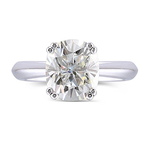 DovEggs 10K White Gold 2CTW 7X8mm H Nearly Colorless 2.8mm Band Width Cushion Cut Moissanite Engagement Ring (5.5)