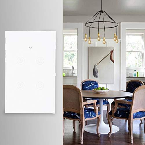 Interruptor de WiFi inteligente de 4 vías, interruptor de luz táctil de pared inteligente WiFi, interruptor de WiFi táctil Control remoto de teléfono inteligente Control de voz Enchufe de
