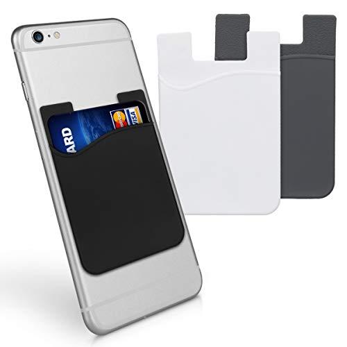 kwmobile 3x Porta carte di credito per Cellulare - Tasca Adesiva in Silicone per Tessere Carte Badge - Taschino Autoadesivo per Cover - nero/grigio/bianco 8,5x5,5cm