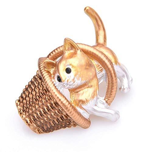 GLKHM Elegante Moda Broches Gato Que Juega A La Cesta Broches Mujeres Accesorios De Animales Esmaltados