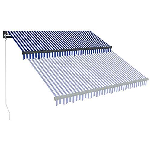 Festnight Luifel handmatig uittrekbaar zonnescherm met zonnescherm Tuinterras Luifel Luifel Gazebo Multi-streep met 300x250 cm blauw en wit