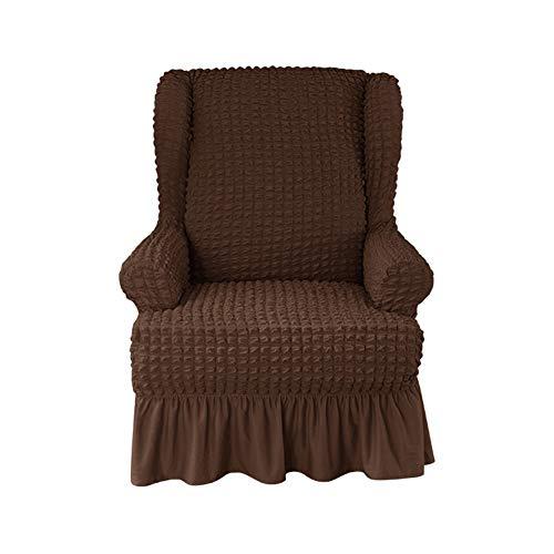 XDKS Ohrensessel Schonbezug,ohrensessel Bezug Stretch Jacquard Elastische Sofaüberwurf Schutzhülle Aus Elastischem Sessel Husse Für Ohrensessel (Schokoladenfarbe)