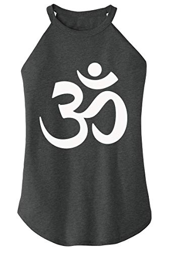 Ladies Tri-Blend Rocker Tank Top Om Hindu Religion Black Frost M