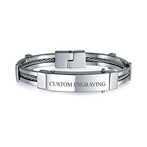Personalized Identification Name Plate Cable Link ID Bangle Bracelet for Men Silver Tone Stainless Steel Custom Engraved