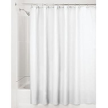 "InterDesign York Waffle Weave Shower Curtain – Mold & Mildew Resistant Hotel Weight Bathroom Curtain, White, 72"" x 84"", Long"