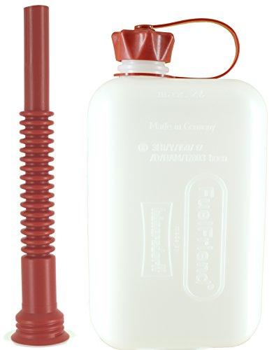 FuelFriend®-Big Clear max. 2,0 Liter - Klein-Benzinkanister Mini-Reservekanister mit UN-Zulassung + Flexibles Auslaufrohr