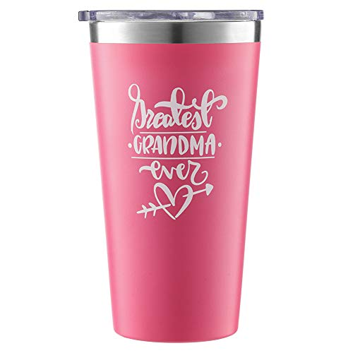 Greatest Grandma Ever Stainless Steel Vacuum-Insulated Tumbler, Mug with Lid for Coffee, Tea, Wine, Water; Best Travel Cup Gift for Mom, Nana; Cute for Birthdays, Mother's Day; 16 oz. Pink