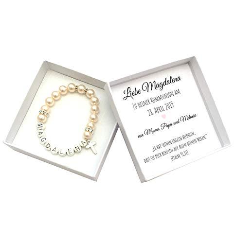 Kommunion Geschenk Mädchen personalisiert, Armband mit Geschenkbox, Kommunionsgeschenk