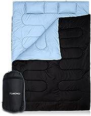 TOMSHOO Sac de Couchage 2 Places pour Camping, 220x152cm Double Détachable avec 2 Oreillers Adulte, 0℃ ~ 10℃ / -5℃ ~ 5℃ pour 3-4 Saisons
