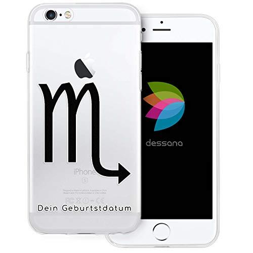 dessana sterrenbeeld met datum transparante silicone TPU beschermhoes 0,7 mm dunne mobiele telefoon soft case cover tas voor Apple, Apple iPhone 6/6S, Schorpioen verjaardag.