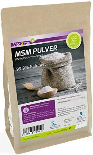 MSM Pulver 1000g - (Methylsulfonylmethan) 99,9% Reinheit - Meshfaktor 40-80 - 1kg Organischer Schwefel - Premium Qualität