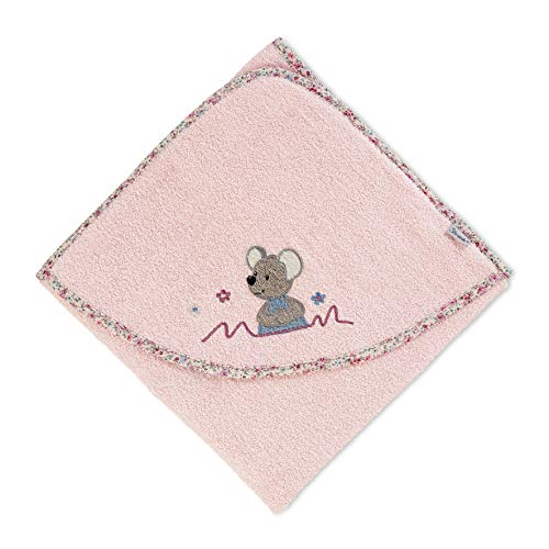 Sterntaler Kapuzenbadetuch Maus Mabel, Alter: ab 0 Monate, 80 x 80 cm, Zartrosa