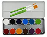 Senjo Color Bodypainting Farben Face Paint Palette 12 Farben, 2 Schmink-Pinsel, Kinderschminke mit...