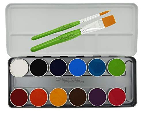 Senjo Color Bodypainting Farben Face Paint Palette 12 Farben, 2 Schmink-Pinsel, Kinderschminke mit Vitamin E und Kamille, für Profi, Halloween, Cosplay, Kindergarten - Made in Berlin Germany