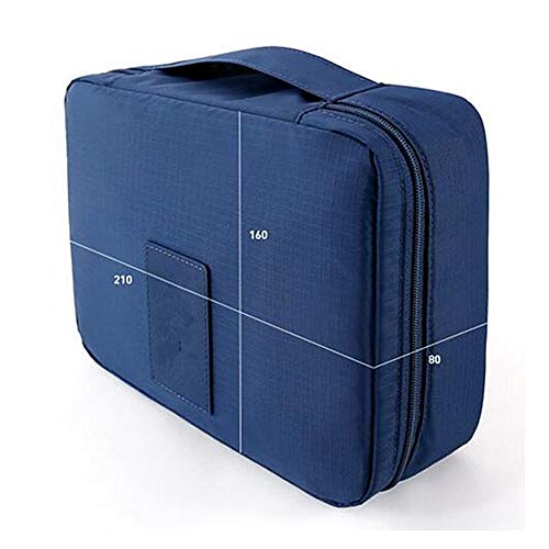2 Pieces/lot Multifunction Man Women Cosmetic Bag Beauty Storage Case Organizer Toiletry Bag Travel Large Capacity Wash Pouch(Dark blue)
