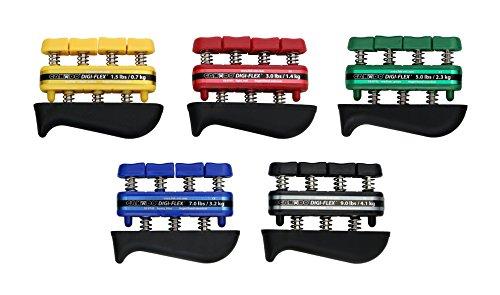 CanDo 100745 DigiFlex Hand Exerciser Set of 5 No Rack Yellow through Black