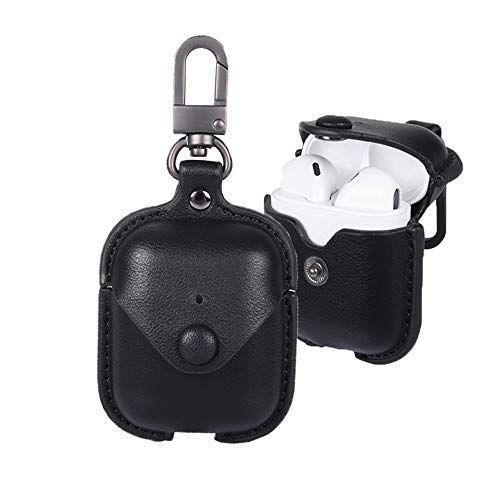 Top airpods keychain case black leather for 2020