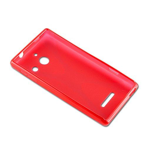 Cadorabo Hülle für Huawei Ascend W1 - Hülle in Inferno ROT – Handyhülle aus flexiblem TPU Silikon im X-Line Design - Silikonhülle Schutzhülle Soft Back Cover Case Bumper - 3