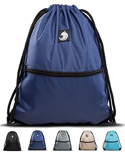 Fitgriff® Turnbeutel für Damen und Herren, Sportbeutel, Gymsack, Rucksackbeutel, Gym Bag Drawstring Backbag Bag (Navy Blue)