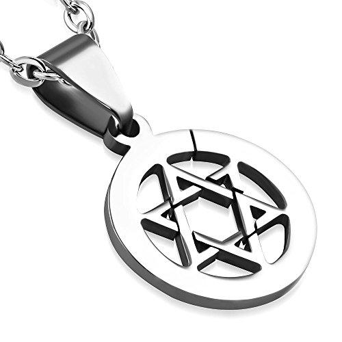 Bungsa® Pentagramm Anhänger rund Edelstahl Silber (Pendant Kettenanhänger Amulett Medaillon Charm Davidstern Beads Chirurgenstahl Damen Herren Schmuck)