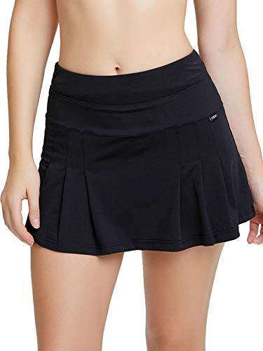 siyecaoo Falda Pantalón Deportiva de Tenis para Mujer Cintura Alta Falda para Correr Secado rápido Yoga Corto con Bolsillos Niñas Faldas Negro S