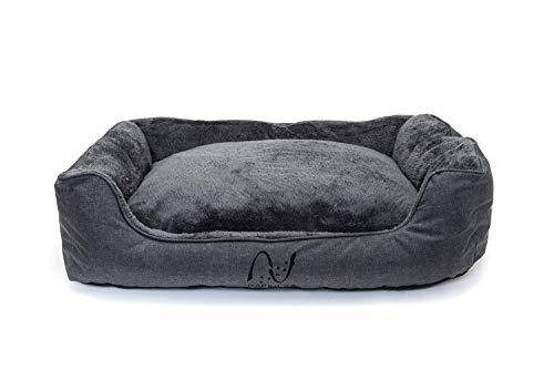 Happilax Cama para Perro Mediano, Lavable con Almohadas de Felpa Reversibles, Gris